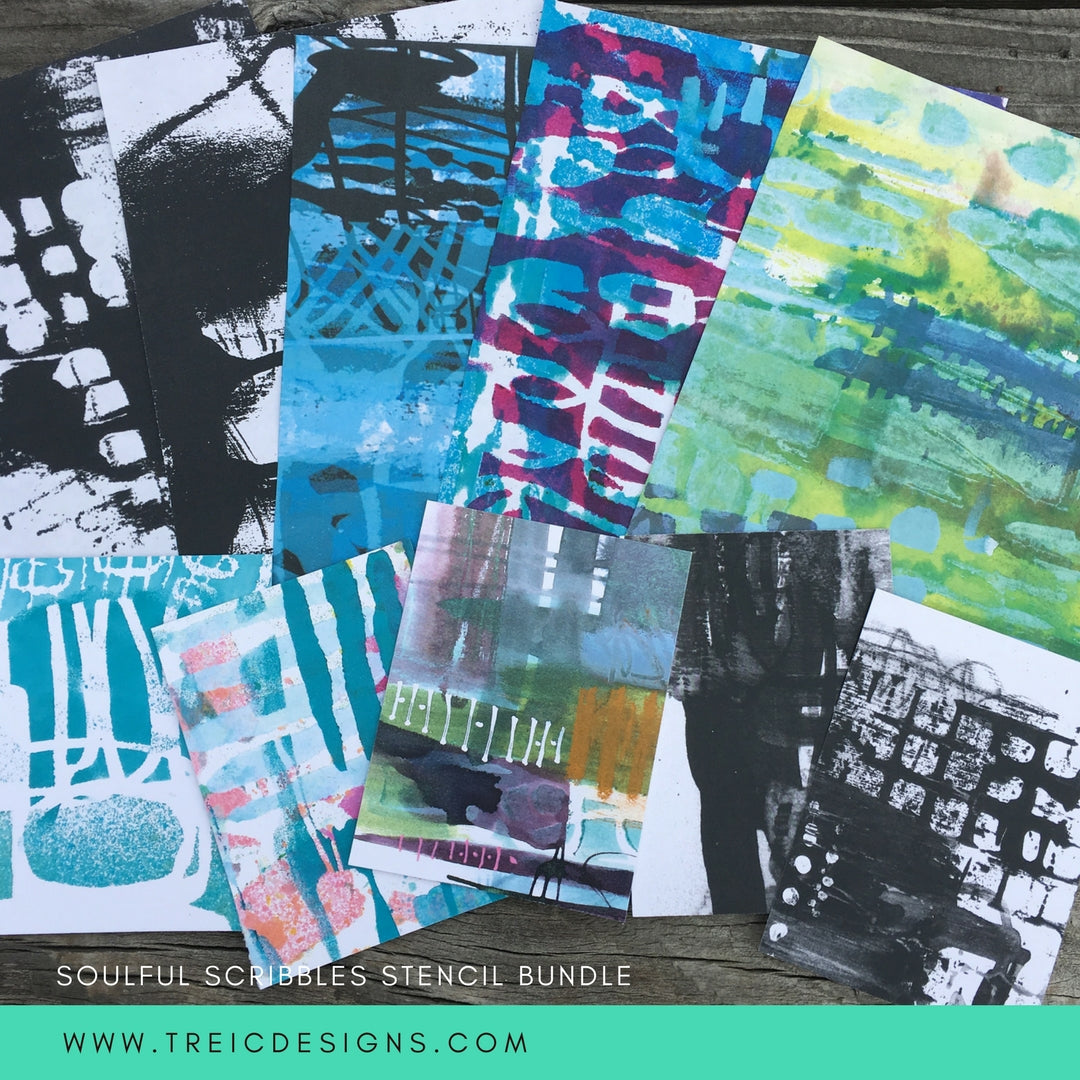 SOULFUL SCRIBBLES stencil BUNDLE