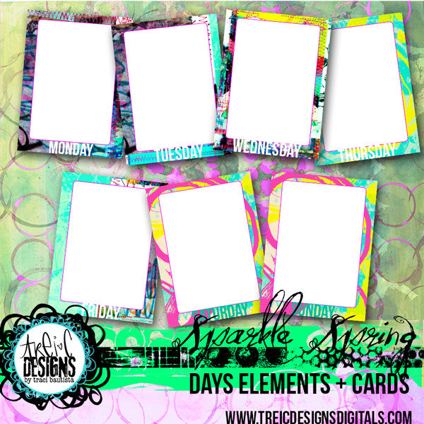 SPARKLE SPRING days journaling cards