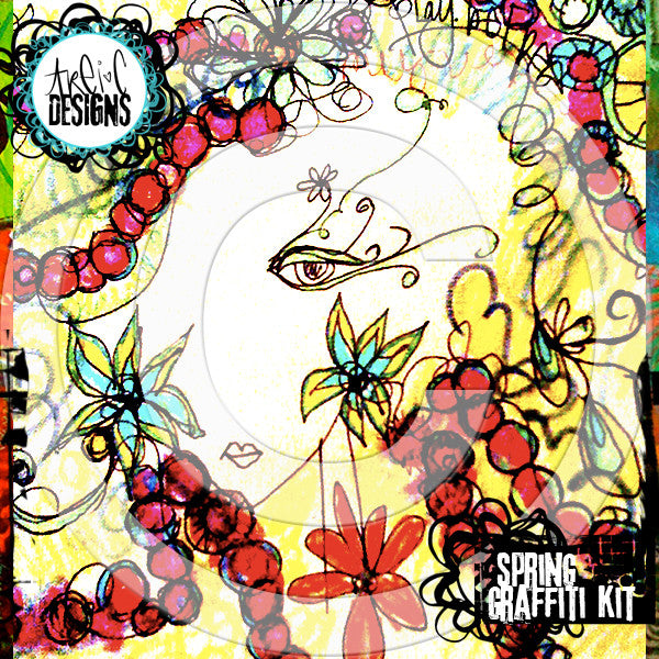 SPRING graffiti papers kit
