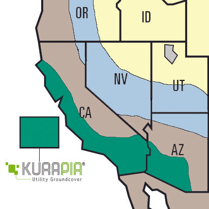 Kurapia Ground Cover growing climates map California and Arizona