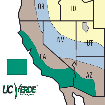 UC Verde Buffalo Grass growing climate map California and Arizona