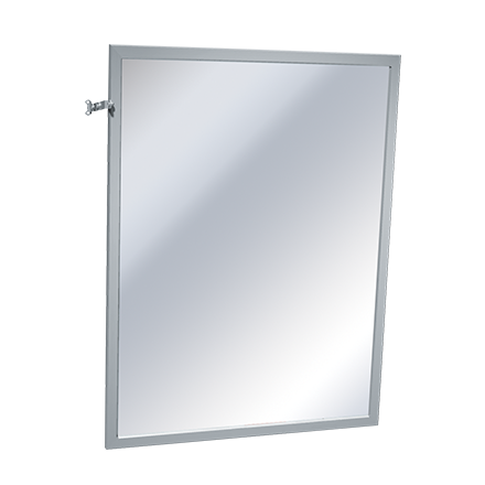 "ASI 0600-T1830 - Mirror - Adjustable Tilt, Stainless Steel Inter-Lok Frame - Plate Glass - 18""W X 30""H 