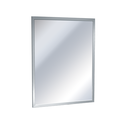 "ASI 0600-C2430 - Mirror - Stainless Steel, Inter-Lok Angle Frame - Polished SS Reflective Surface - 24""W X 30""H 