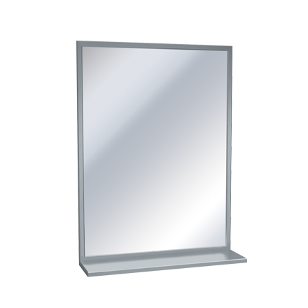 "ASI-0605-2436 - Mirror - Stainless Steel, Inter-Lok Angle Frame w/ Shelf - Plate Glass - 24""W X 36""H 