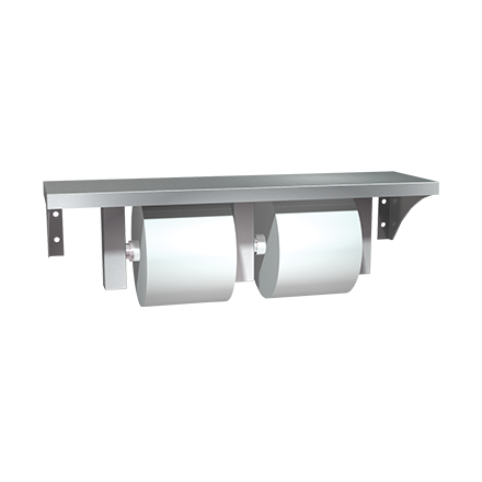ASI 0697-GAL - Shelf w/ Double Toilet Tissue Holder Stainless Steel - Surface Mounted | Choice Builder Solutions