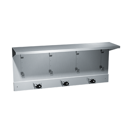 "ASI-1308-3 - Shelf/Utility Hook & Mop Strip - 4 Hooks, 3 Holders - 34"" L - Surface Mounted 