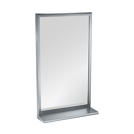 "ASI 20655-2436 - Roval™ - Mirror with Shelf - Stainless Steel, Inter-Lok Frame - Plate Glass - 24""W X 36""H - Surface Mounted 
