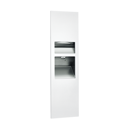 ASI 64672-2-00 - Piatto™ Completely Recessed 3-in-1 Paper Towel Dispenser, High Speed Hand Dryer & Waste Receptacle - (208-240V) - White Phenolic Door | Choice Builder Solutions