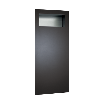 ASI-6474-41 - Piatto™ Completely Recessed Waste Receptacle - Matte Black Phenolic Door | Choice Builder Solutions