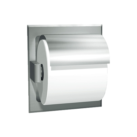 ASI-7402-HB - Toilet Tissue Holder - Single, Hooded - Bright Stainless Steel - Recessed | Choice Builder Solutions