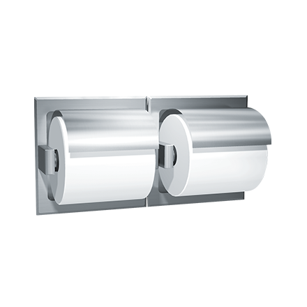 ASI-74022-HS - Toilet Tissue Holder - Double, Hooded - Satin Stainless Steel - Recessed | Choice Builder Solutions
