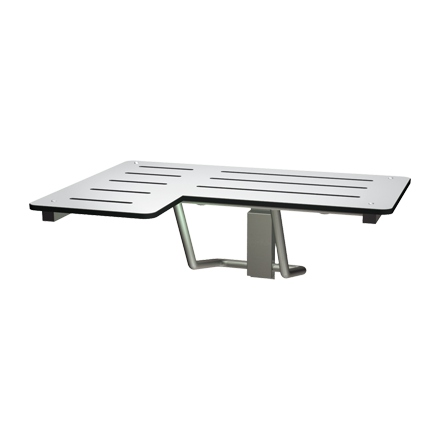 "ASI 8206-R - Folding Shower Seat  - L-Shaped, Right Hand, ADA - Solid Phenolic, White - 33""W 