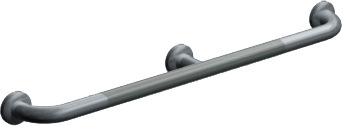"ASI-3702-54P - Snap Flange (1-1/4"" O.D) Peened -  Straight Grab Bar w/ Intermediate Support, 54"" 