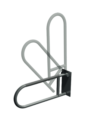 "ASI-3513-P - Exposed Flange (1-1/2"" O.D) Peened -  Swing Up Grab Bar 