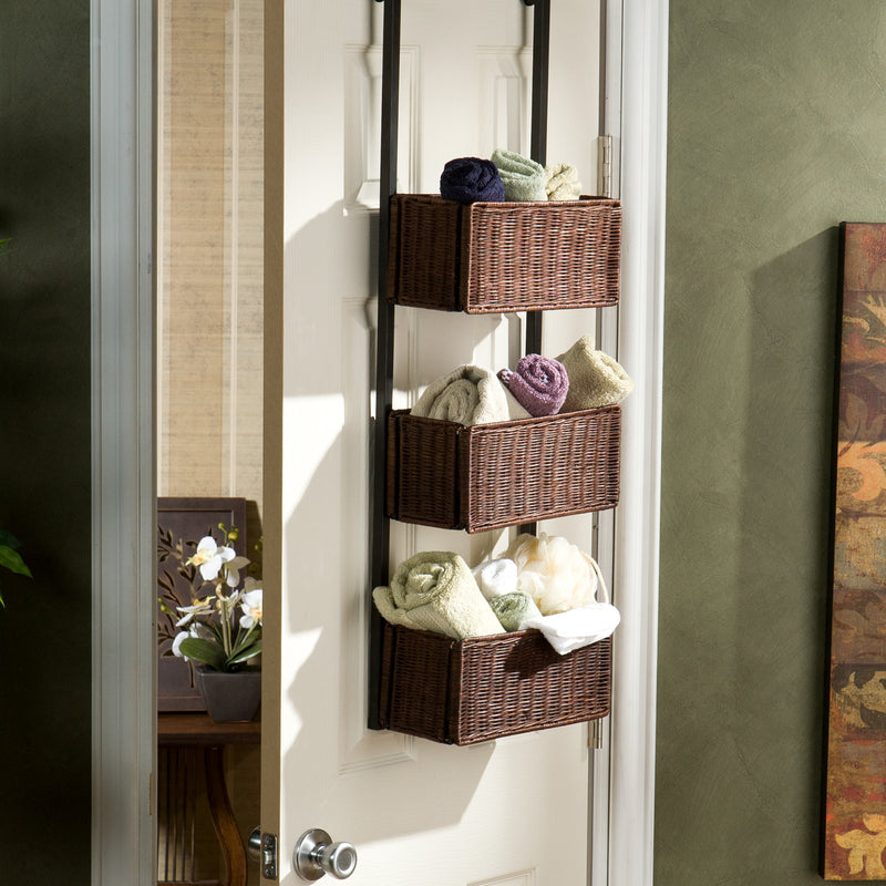 Over-The-Door 3-Tier Basket Storage - lifestyle photo - 3 baskets filled with rolled hand towels