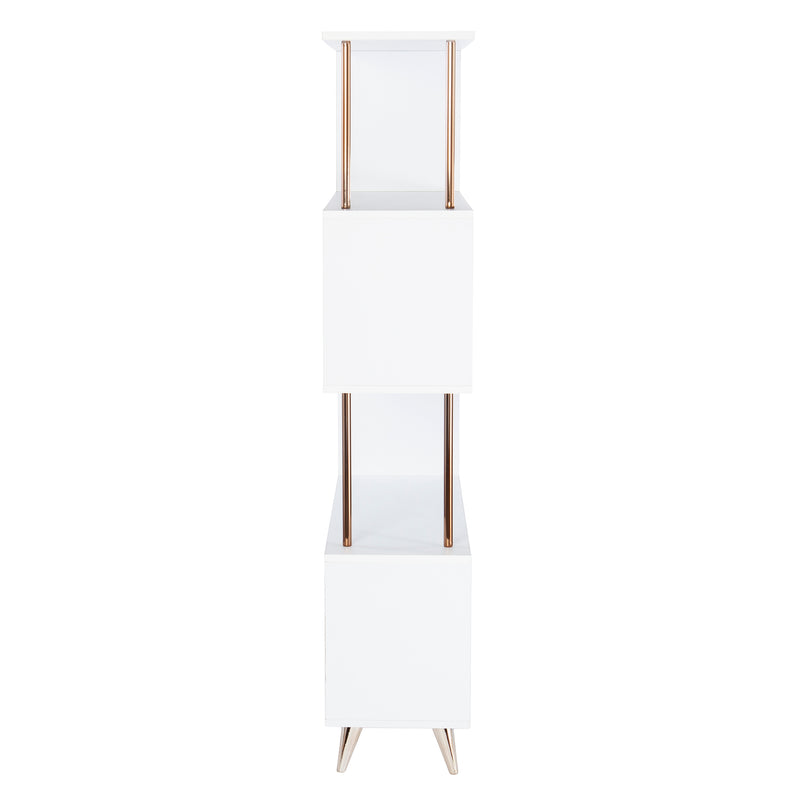 Beckerman Asymmetrical Etagere side view silhouette photo on white background.