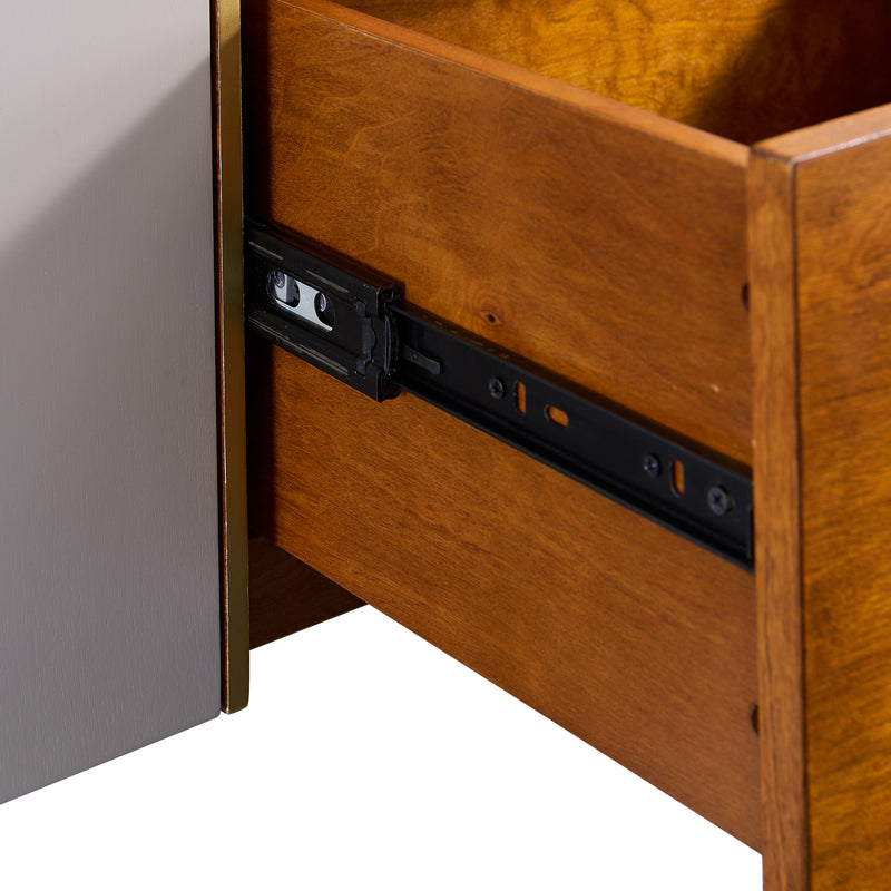 Close up view of the sliders on the drawers.