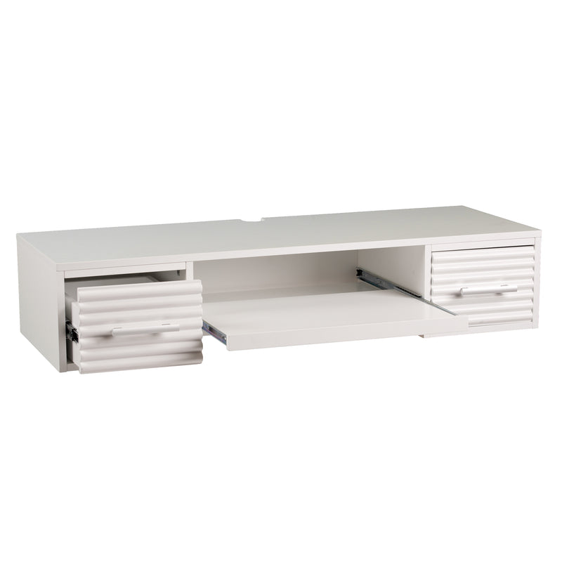 Simon Wall Mount Desk - front view, left angle - open drawers and pulled out keyboard tray