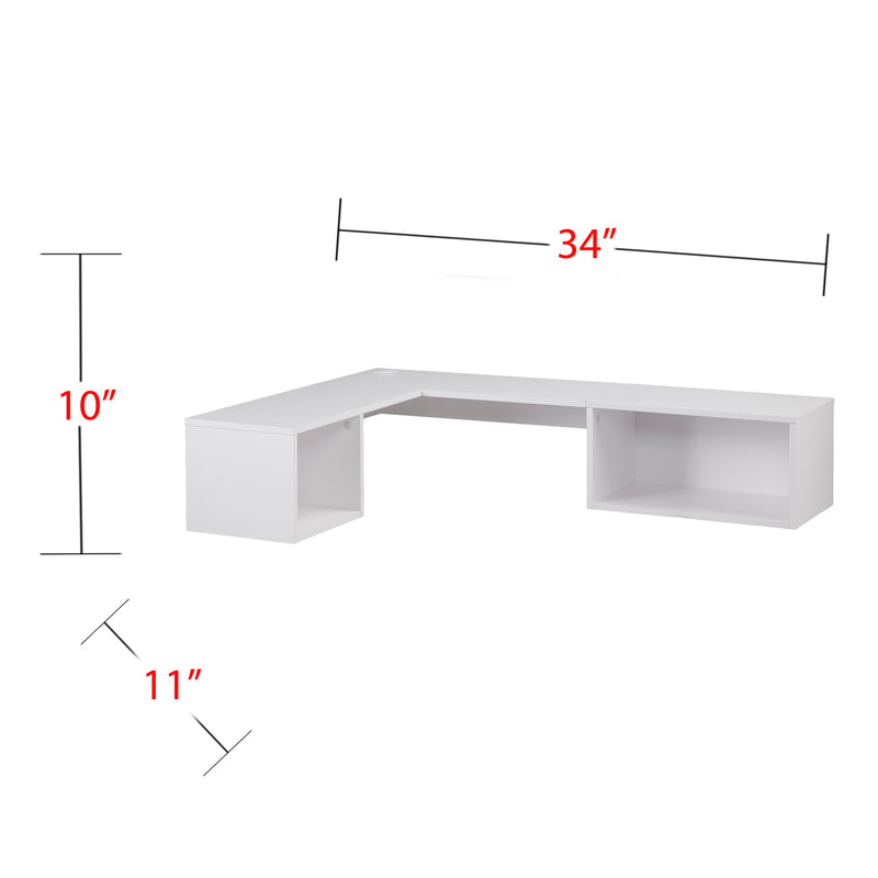 Fynn Wall Mount Corner Desk - front view - overall dimensions - 34 inch long, 11 inch deep 10 inch high