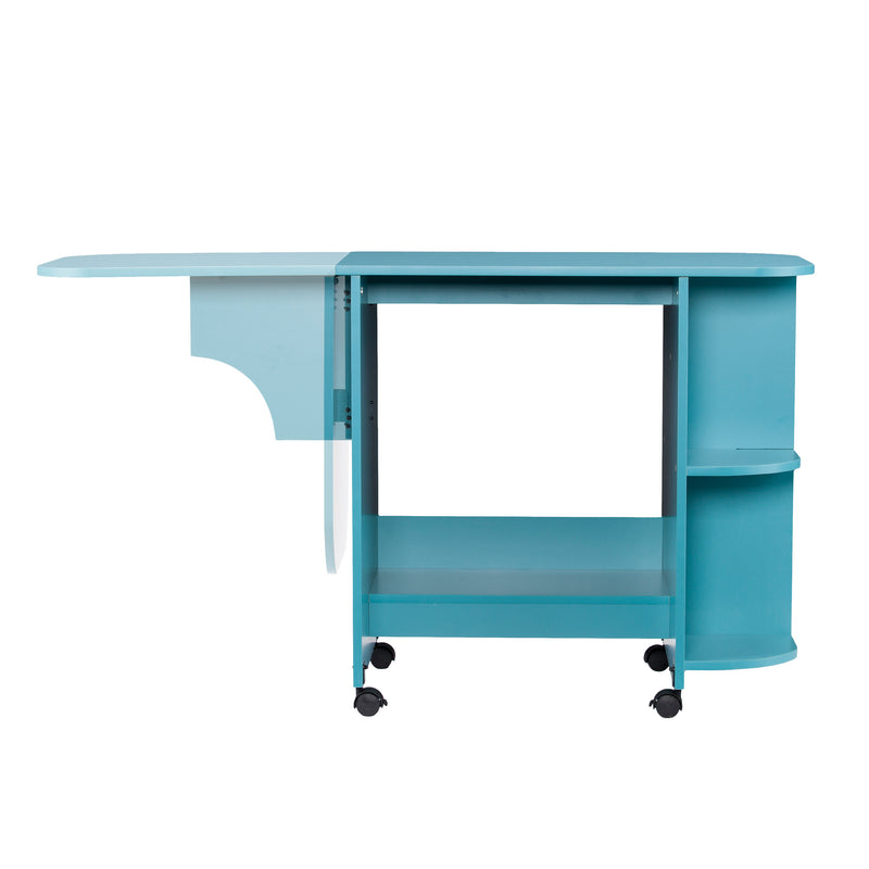 Turquoise Expandable Rolling Sewing Table/Craft Station - front view showing how arm moves up and down