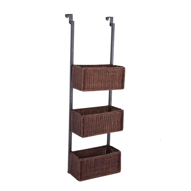 Over-The-Door 3-Tier Basket Storage - front view, left angle