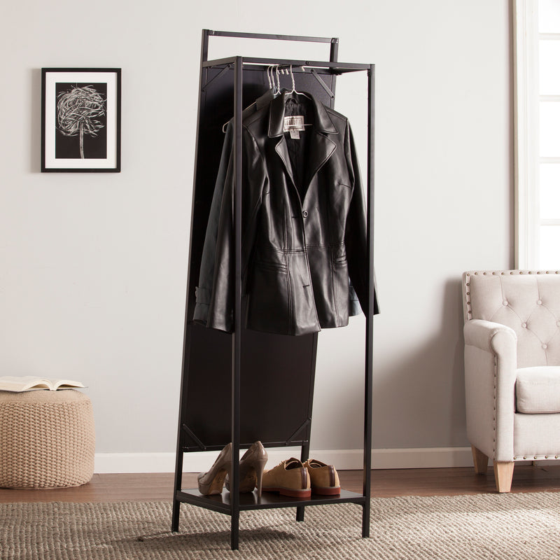 Drake Mirror/Hidden Coat Rack  lifestyle photo showing full back with hanging coats and shoes on lower shelf.