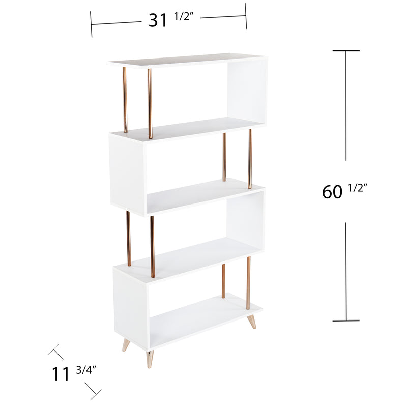 Beckerman Asymmetrical Etagere photo with measurements. 31.5 inches wide, 60.5 inches tall, 11.75 inches deep.