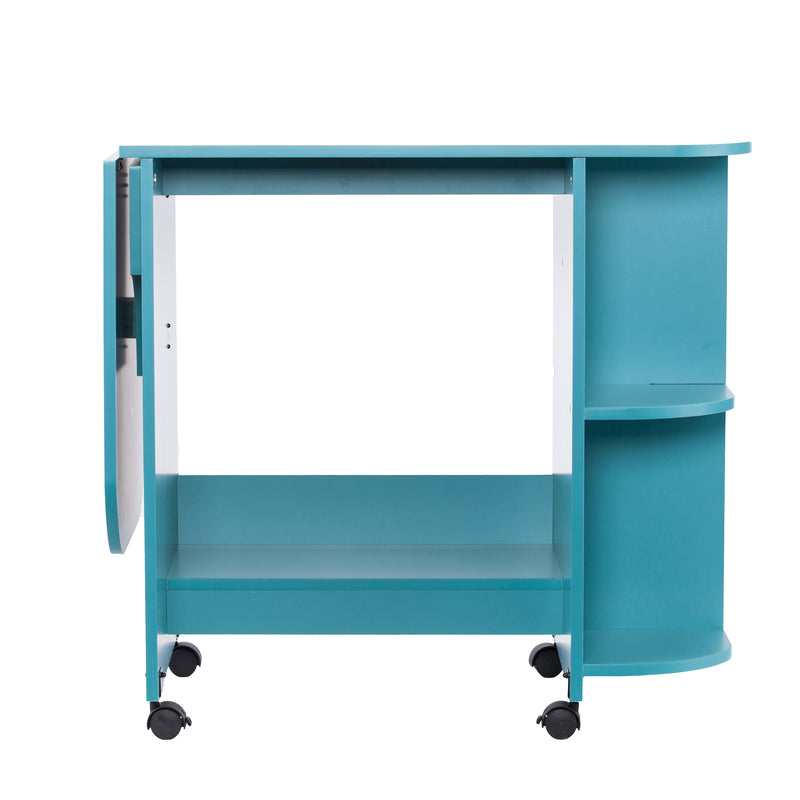 Turquoise Expandable Rolling Sewing Table/Craft Station - front view - arm down
