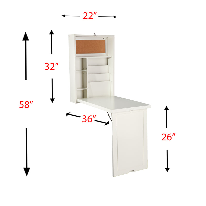 Wall-Mounted Desk - front view - shown open with overall dimensions. Top of wall mounted section; 22 inches wide. Length of wall mounted side 32 inches. Length of desk top ; 36 inches. height from floor to desktop 26 inches. Total height 58 inches.