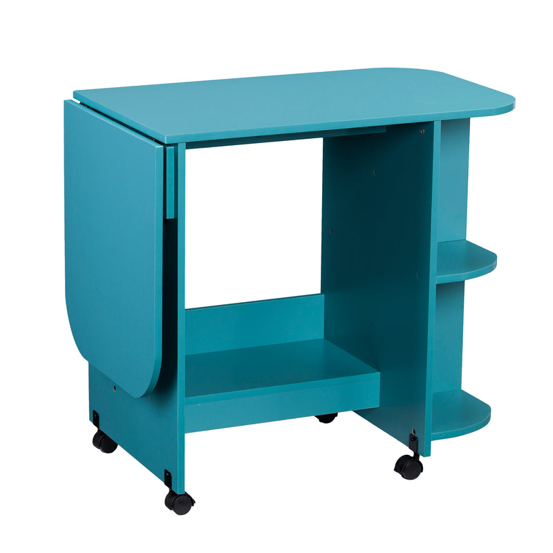 Turquoise Expandable Rolling Sewing Table/Craft Station - left angle front view, arm down