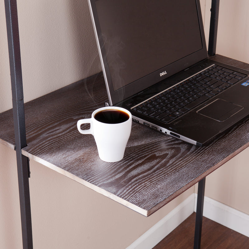 Haeloen Wall Mount Desk - lifestyle photo - detail view of desktop with laptop and coffee cup