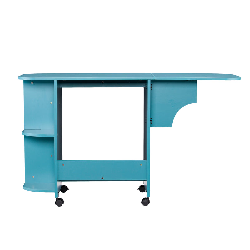 Turquoise Expandable Rolling Sewing Table/Craft Station - back view - arm out