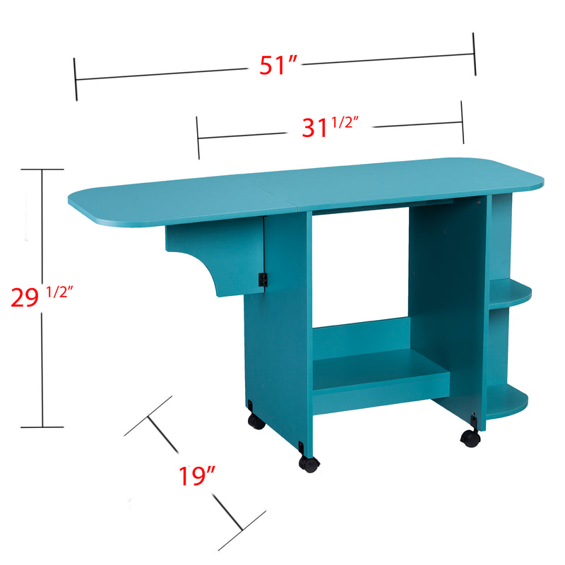 Turquoise Expandable Rolling Sewing Table/Craft Station - left angle front view, arm up - overall dimensions