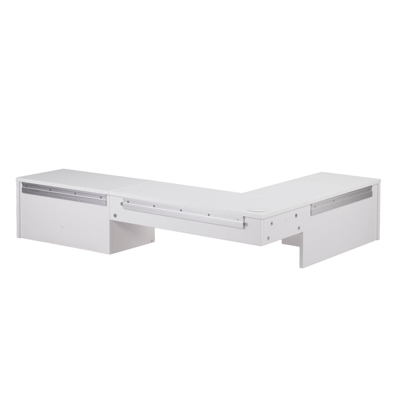 Fynn Wall Mount Corner Desk - back, angle view with wall mount attachments