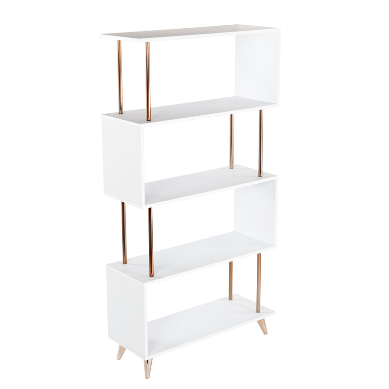 Beckerman Asymmetrical Etagere left angle silhouette photo on white background.