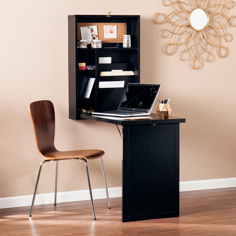 Wall-Mounted Desk - lifestyle photo - shown open with laptop and desk chair