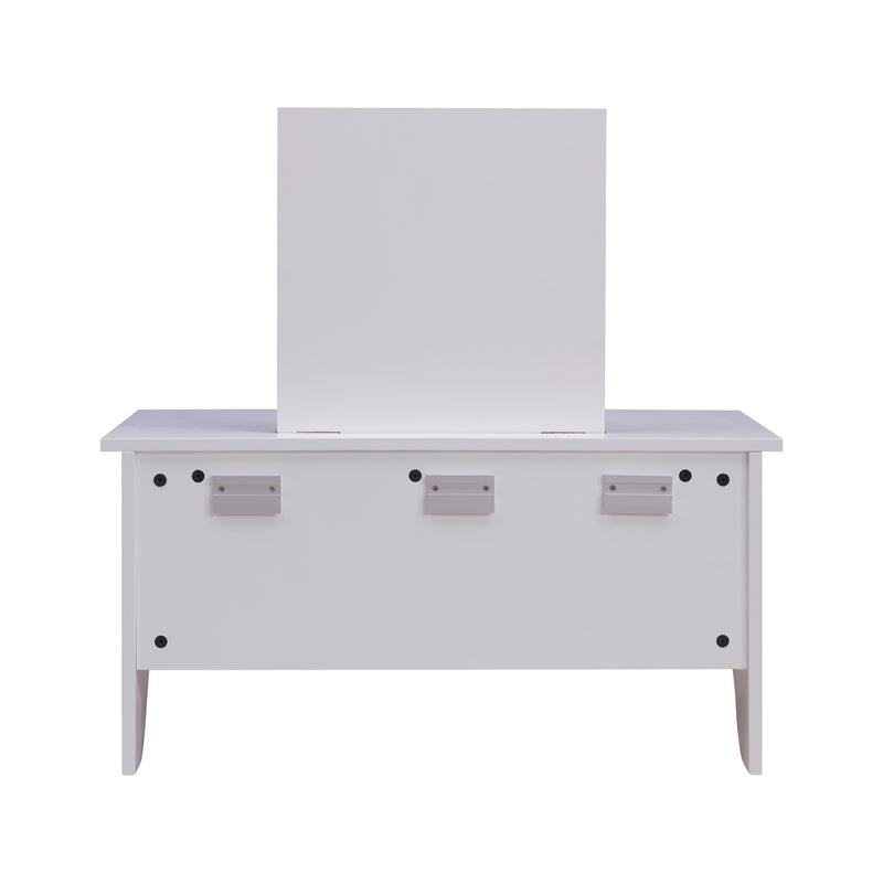 Wall Mount Ledge w/ Vanity Mirror - White