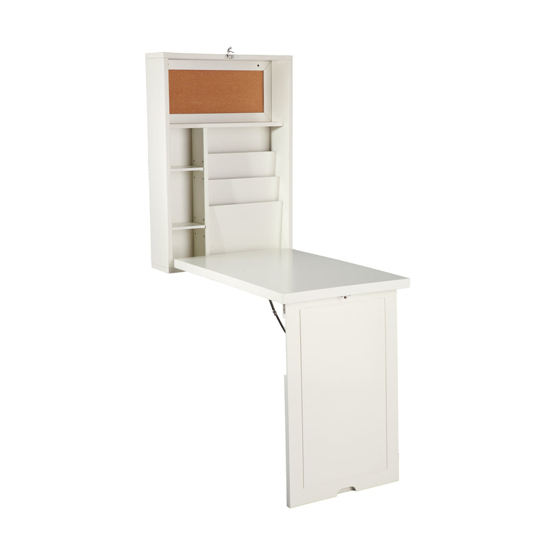 White Wall-Mounted Desk - front view - shown open