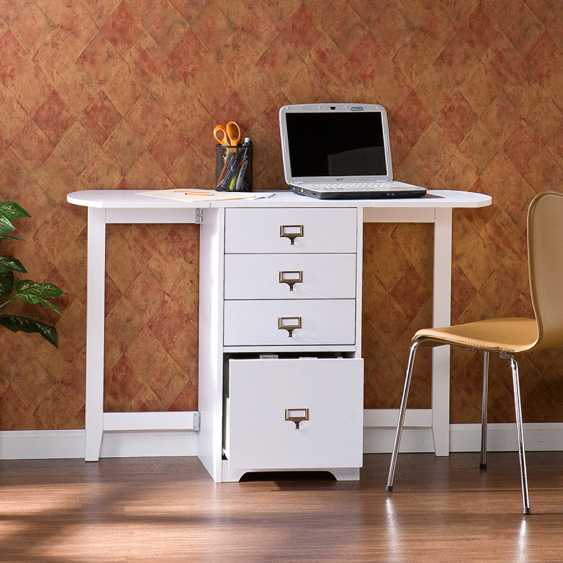 Fold-Out Organizer and Craft Desk - lifestyle front view - laptop on top with desk chair