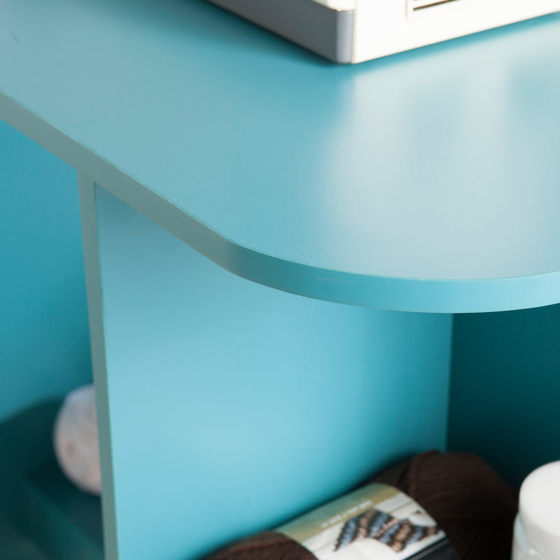 Turquoise Expandable Rolling Sewing Table/Craft Station - lifestyle photo close up of rounded top corner