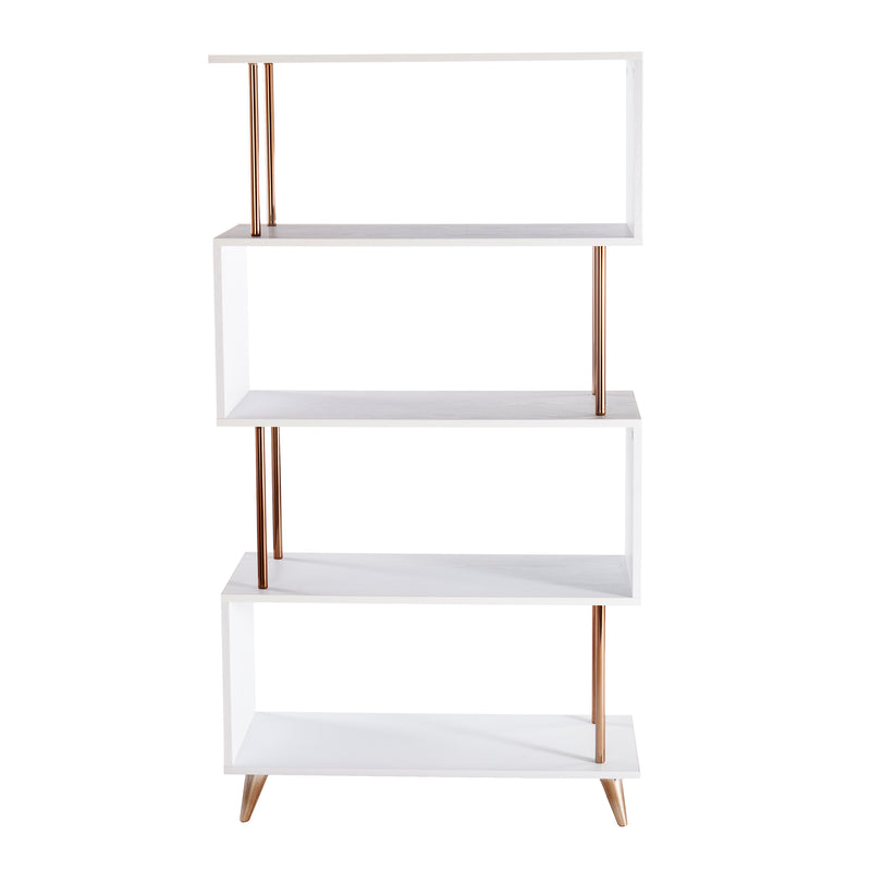 Beckerman Asymmetrical Etagere front silhouette photo on white background.