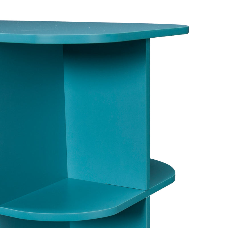 Turquoise Expandable Rolling Sewing Table/Craft Station - close up detail view of shelves