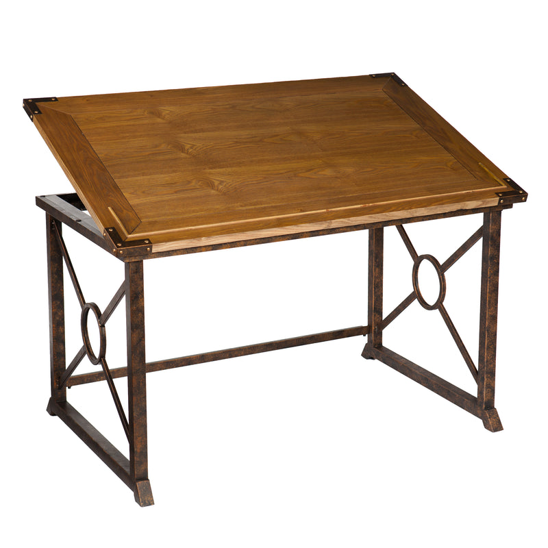 Knightley Tilt-Top Drafting Table -left angle, front view - tabletop at an angle
