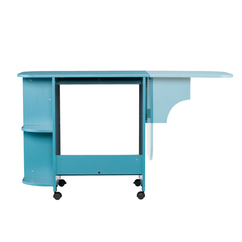 Turquoise Expandable Rolling Sewing Table/Craft Station - back view - showing how arm moves up and down