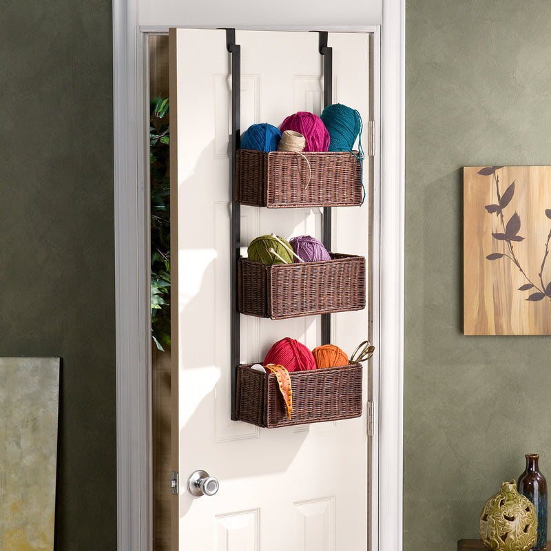 Over-The-Door 3-Tier Basket Storage - lifestyle photo - three baskets filled with yarn