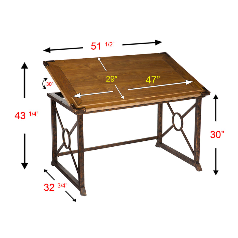 Knightley Tilt-Top Drafting Table - left angle, front view - tabletop at an angle - overall dimensions. Desk top 51.5 inch wide and 29 inches deep. Height when table is at a 30% angle 43.25 inches high. Base is 32.75 deep and 30 inches high