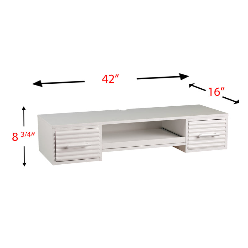 Simon Wall Mount Desk - front view, left angle - overall dimensions