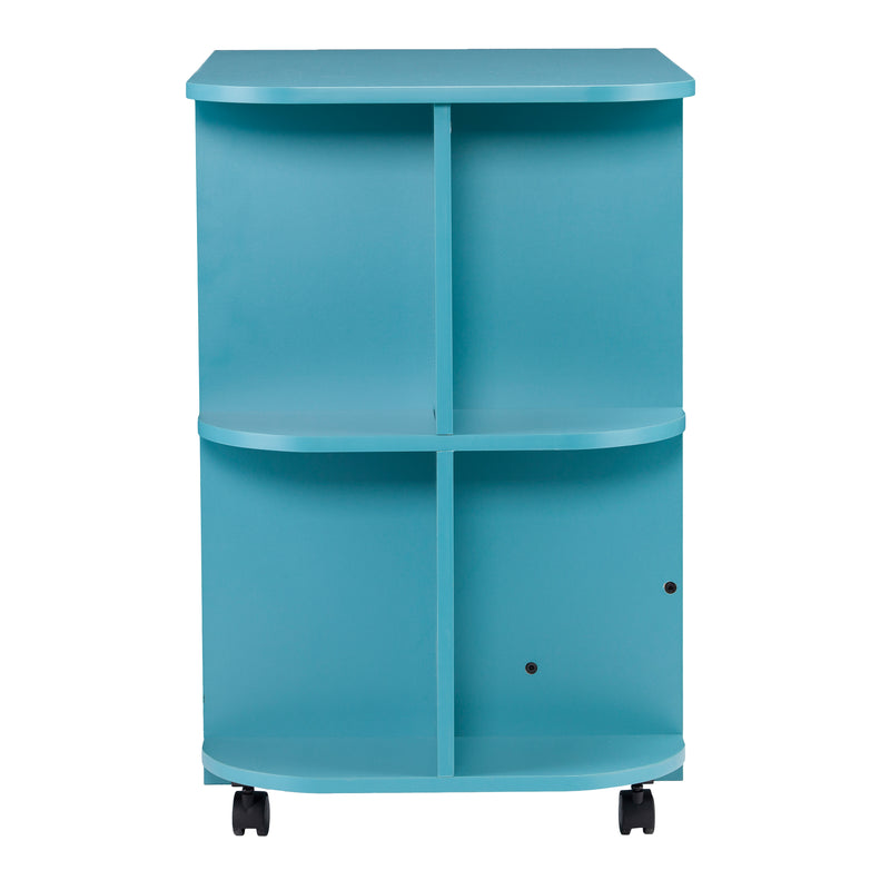Turquoise Expandable Rolling Sewing Table/Craft Station - side view - shelves