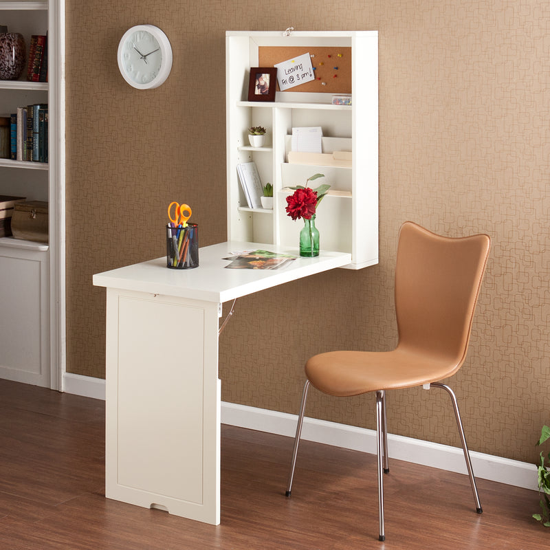 White Wall-Mounted Desk - lifestyle photo - shown open with laptop and desk chair