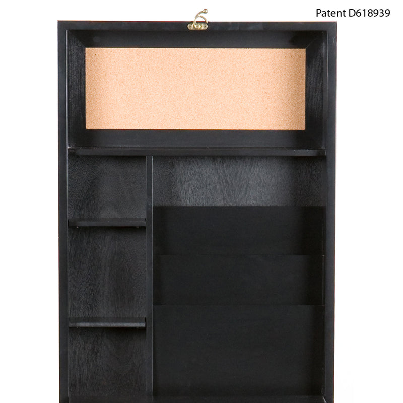 Wall-Mounted Desk - front view - shown open - detail of inside cork and paper holders